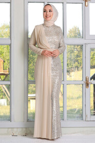 Beige Hijab Evening Dress 34290BEJ - Thumbnail