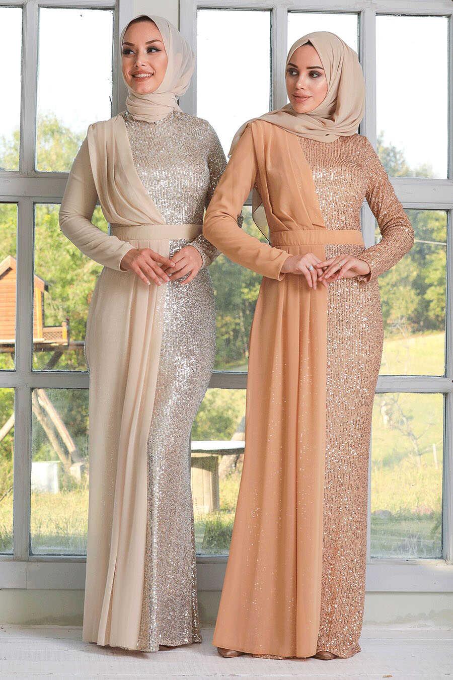 Beige Hijab Evening Dress 34290BEJ