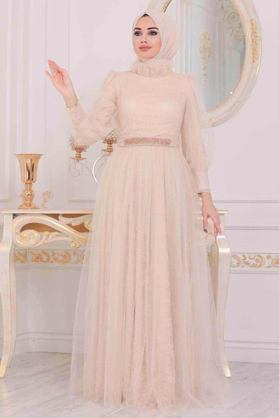 Beige Hijab Evening Dress 40440BEJ