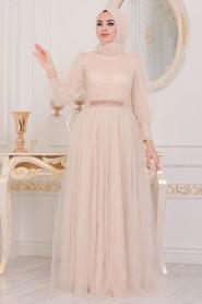 Beige Hijab Evening Dress 40440BEJ - Thumbnail