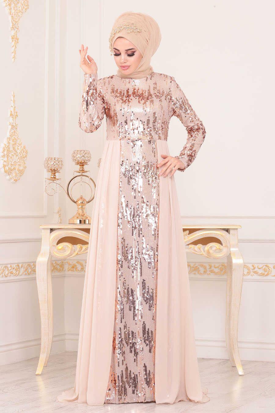 Neva Style - Beige Hijab Evening Dress 8590BEJ