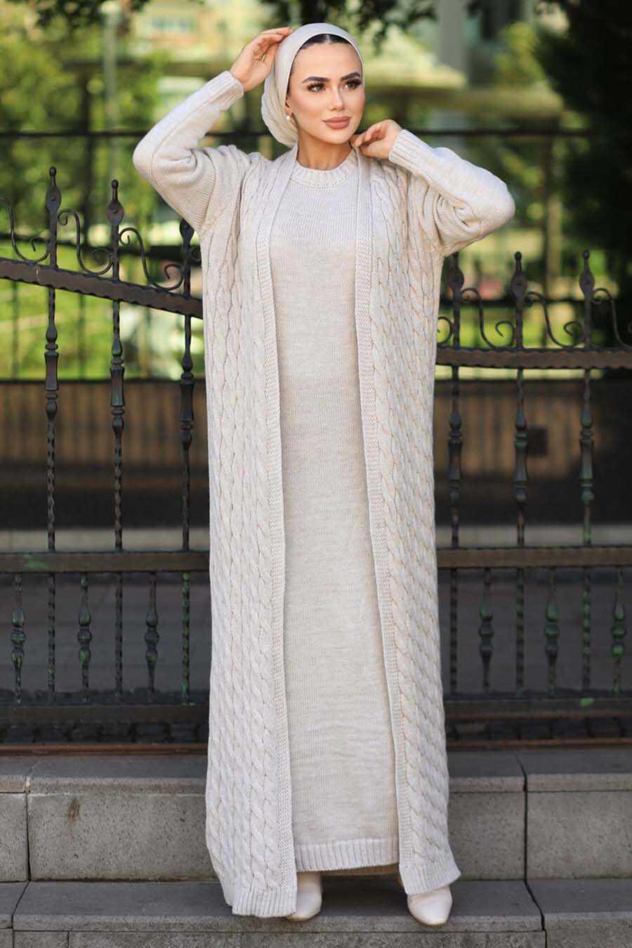 Beige Hijab Knitwear Suit 15020BEJ