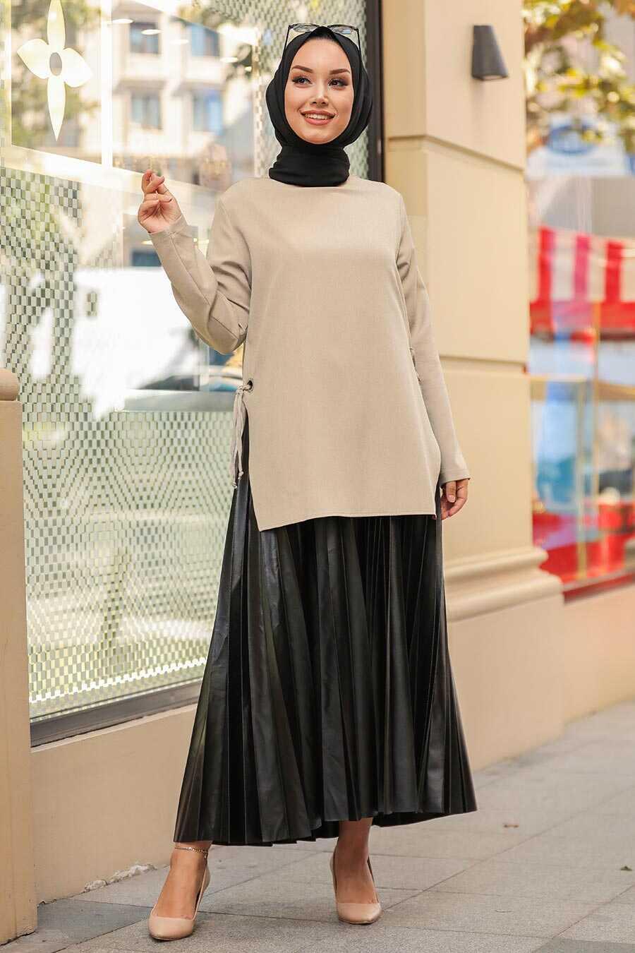 Beige Hijab Suit 1298BEJ
