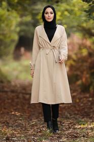 Beige Hijab Trench Coat 88940BEJ - Thumbnail