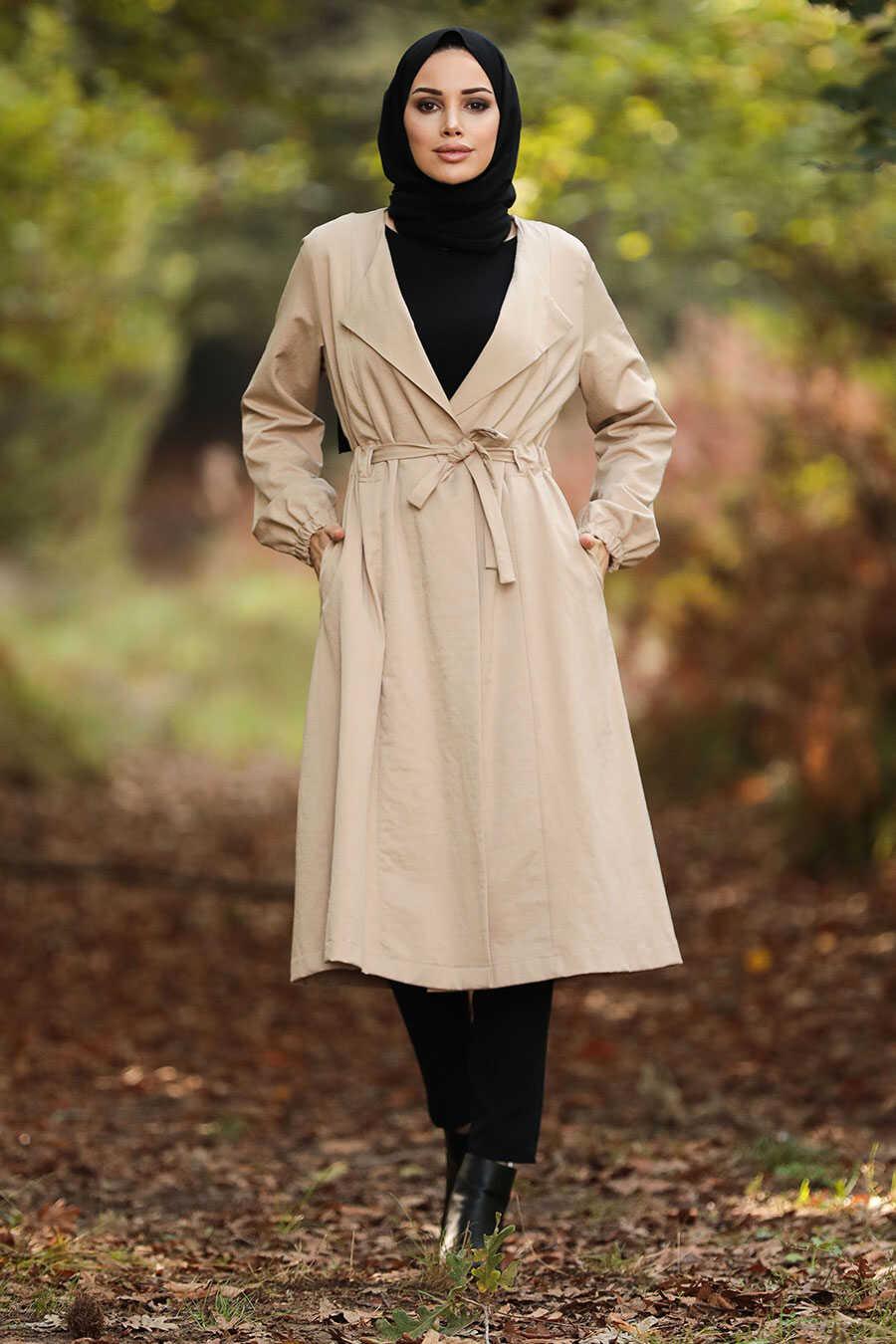 Beige Hijab Trench Coat 88940BEJ