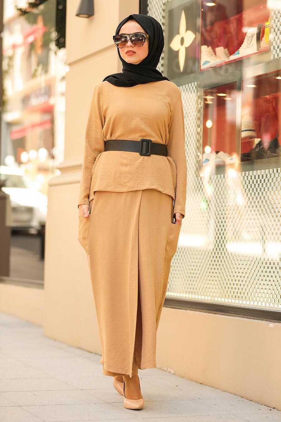 Biscuit Color Hijab Dual Suit Dress 12801BS