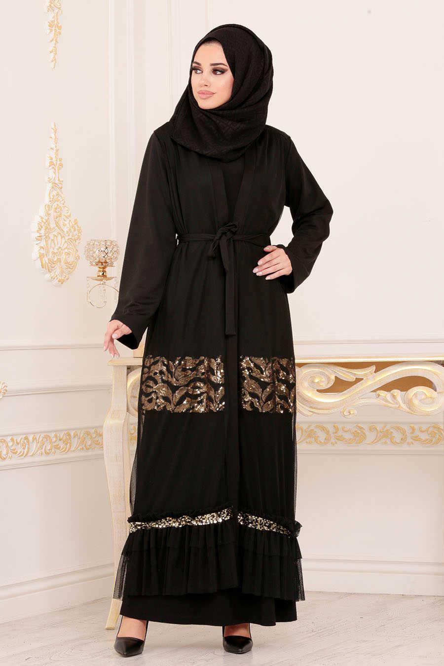 Black Hijab Abaya 9029S