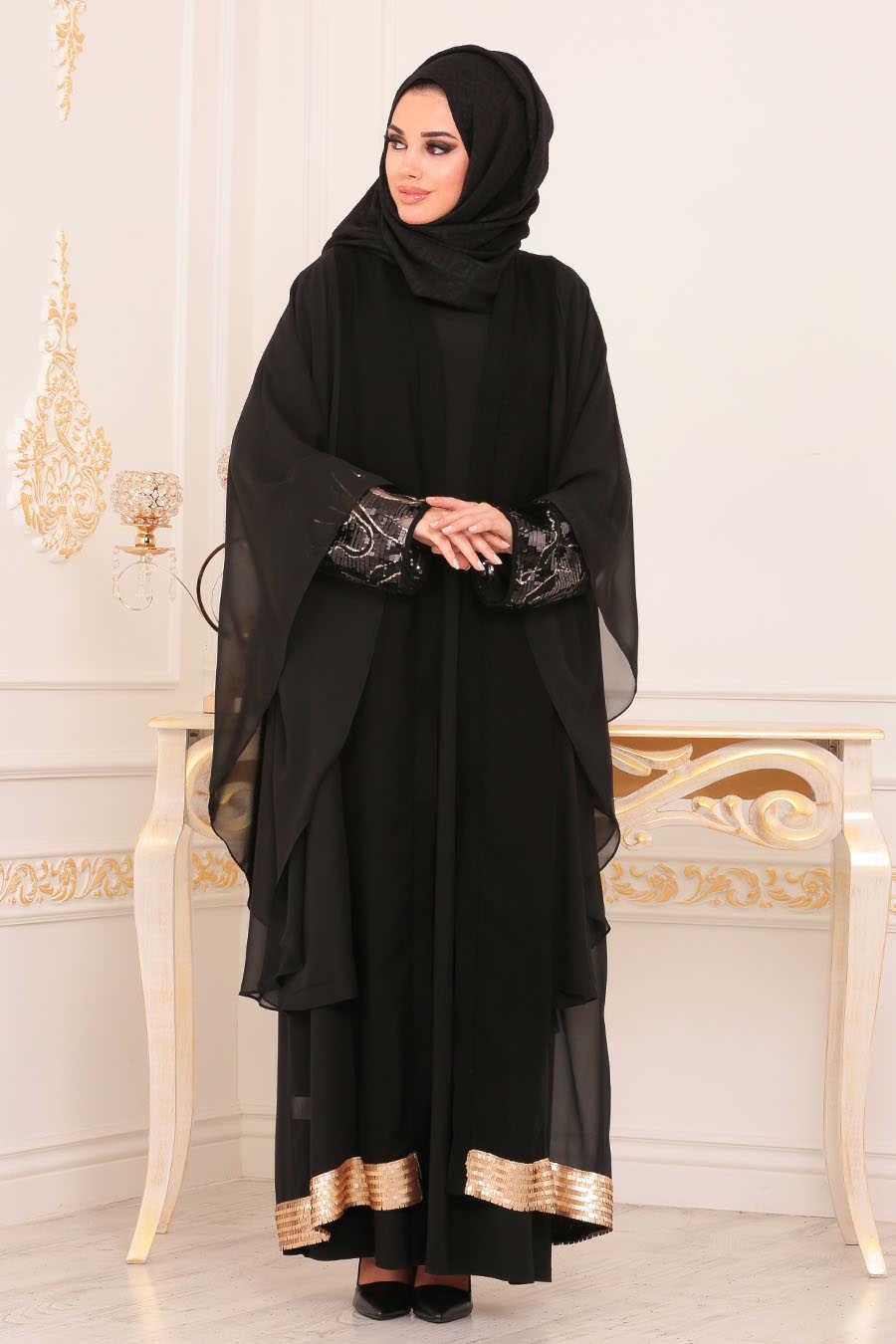 Black Hijab Abaya 9047S