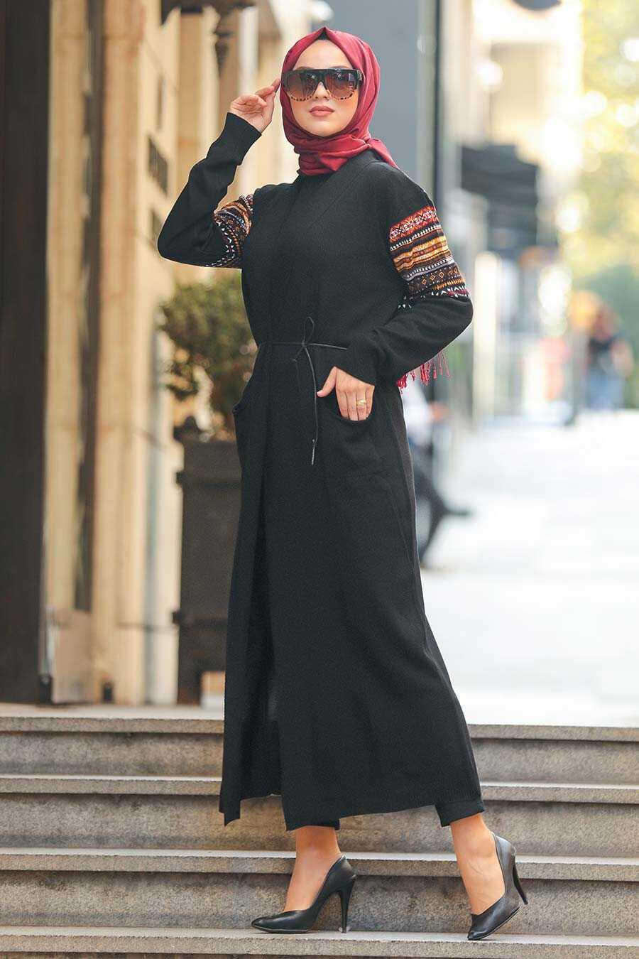 Black Hijab Cardigan 15725S