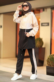 Black Hijab Casual Suit 10012S - Thumbnail