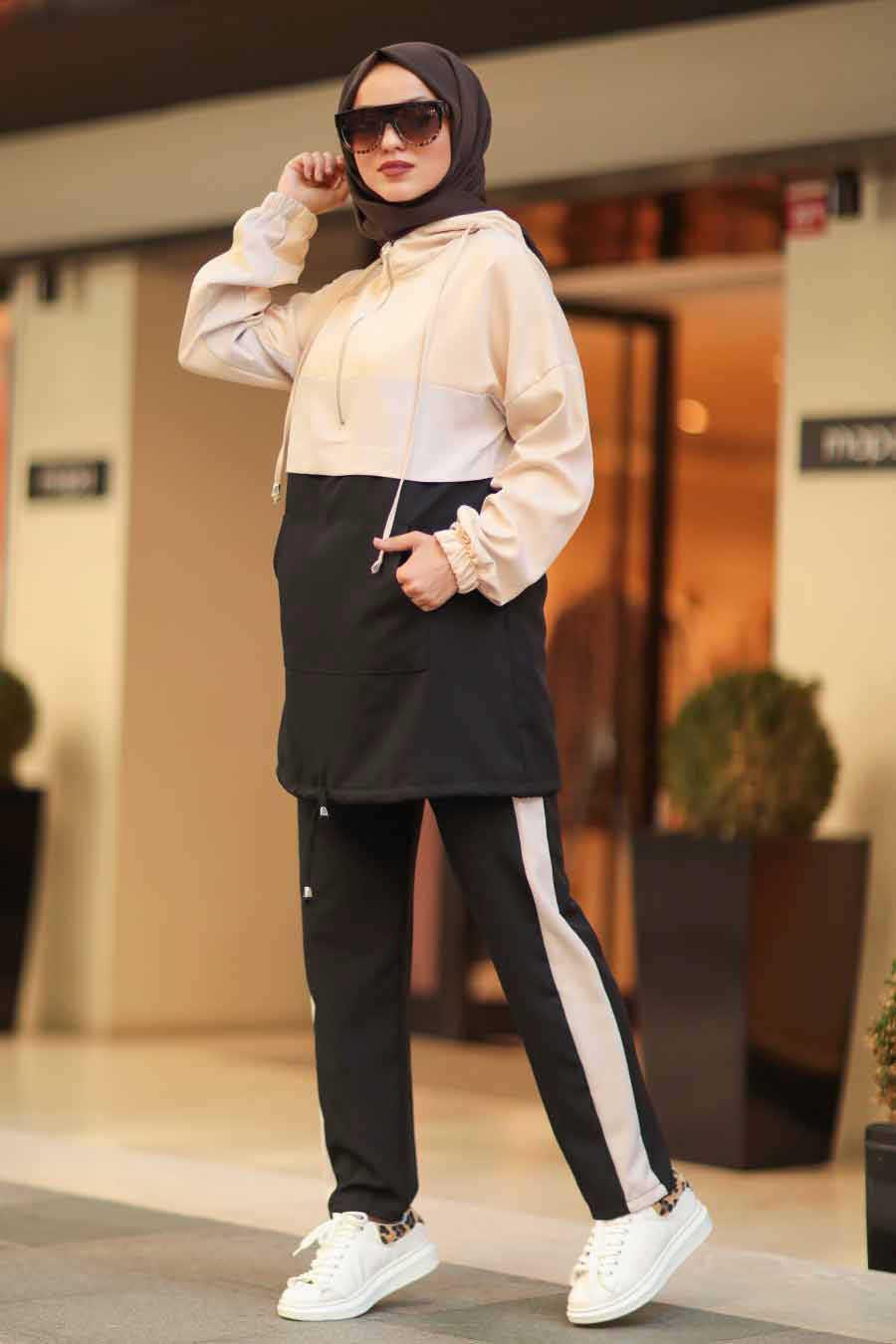 Black Hijab Casual Suit 10012S