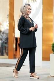 Black Hijab Casual Suit 12950S - Thumbnail