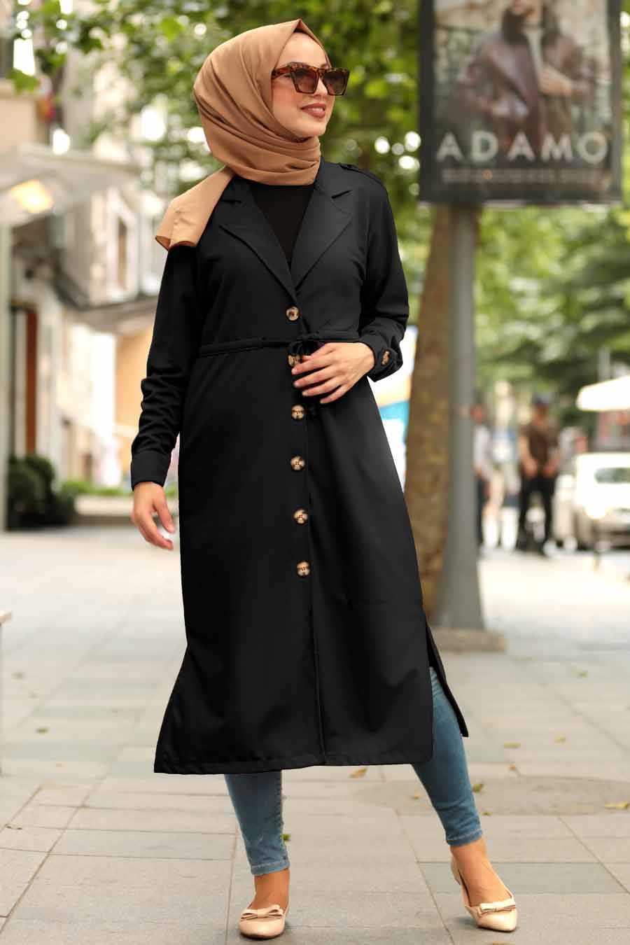 Black Hijab Coat 38080S
