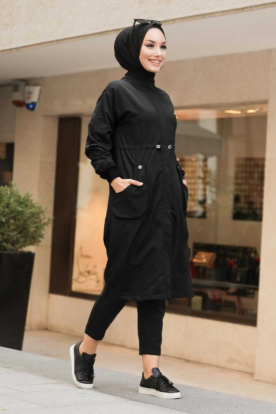 Black Hijab Coat 8874S