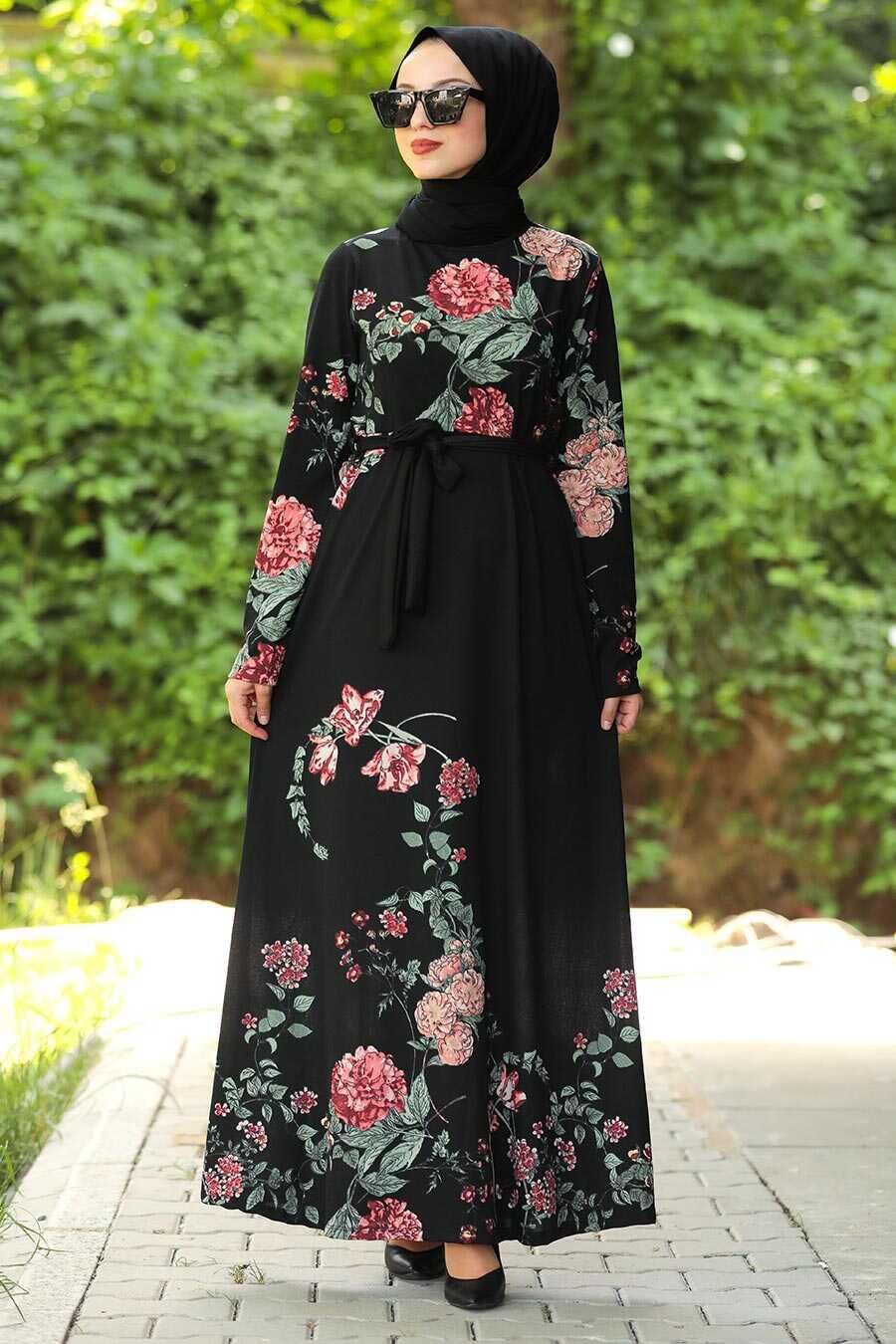 Black Hijab Daily Dress 43091S