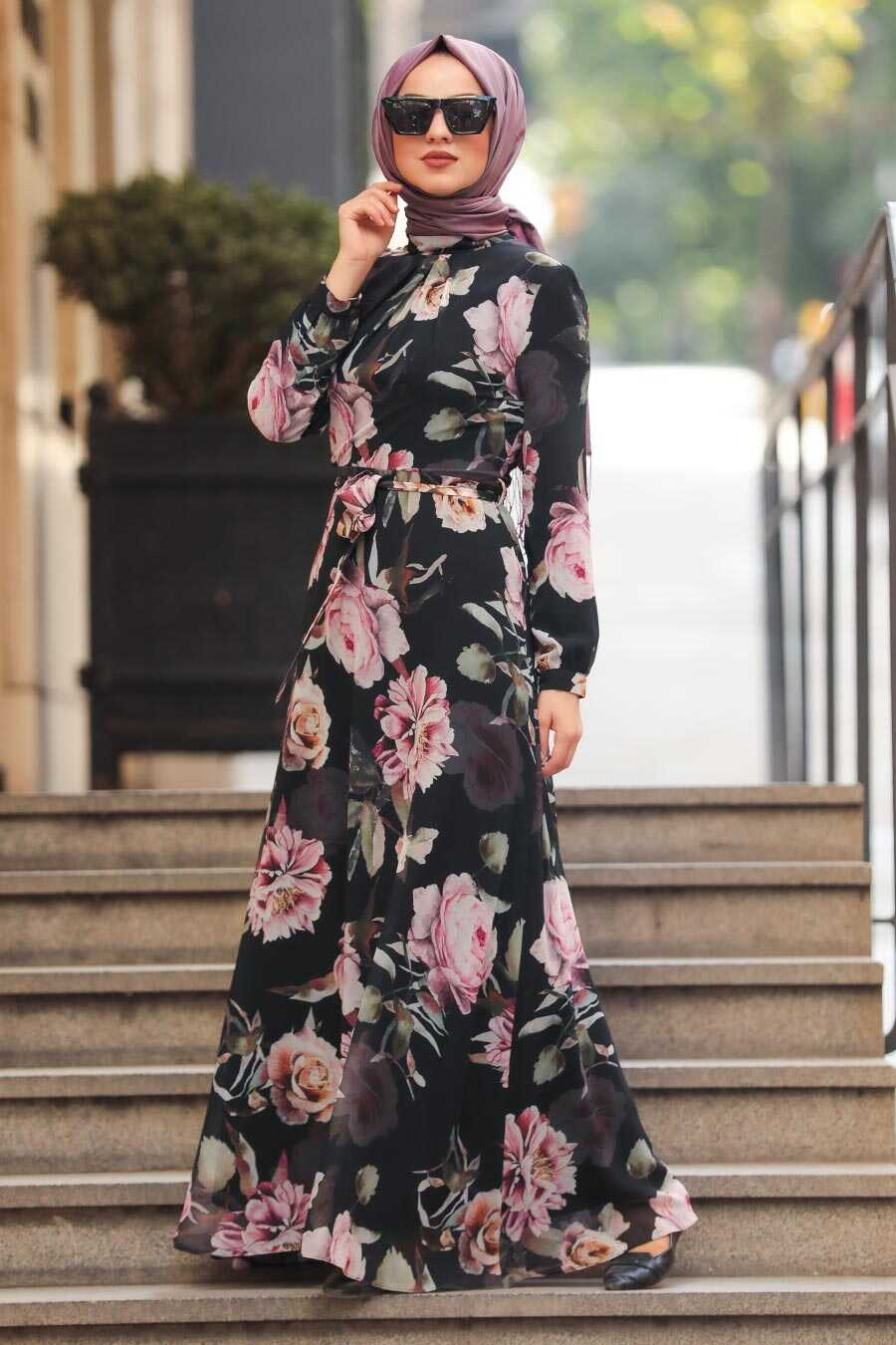 Black Hijab Daily Dress 81543S