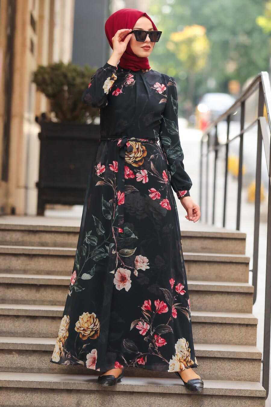 Black Hijab Daily Dress 8154S