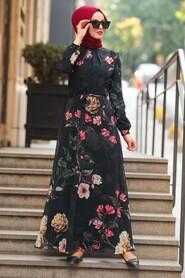 Black Hijab Daily Dress 8154S - Thumbnail