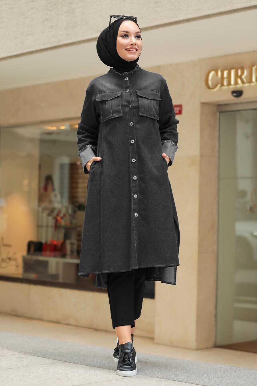 Black Hijab Denim Tunic 5985S