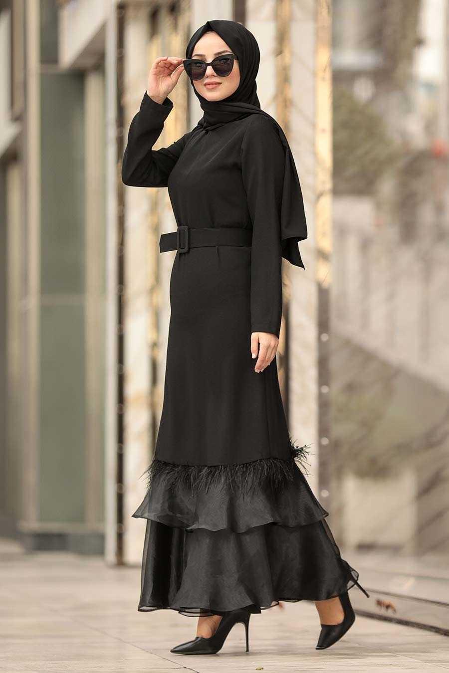 Black Hijab Dress 1375S