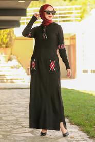 Black Hijab Dress 2243S - Thumbnail