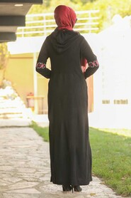 Black Hijab Dress 2243S - Thumbnail