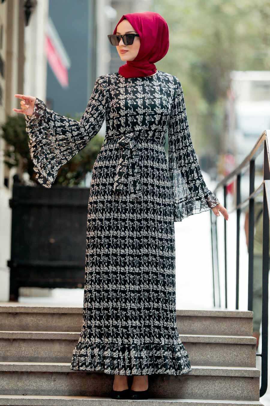 Black Hijab Dress 23812S