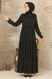 Black Hijab Dress 2746S - Thumbnail
