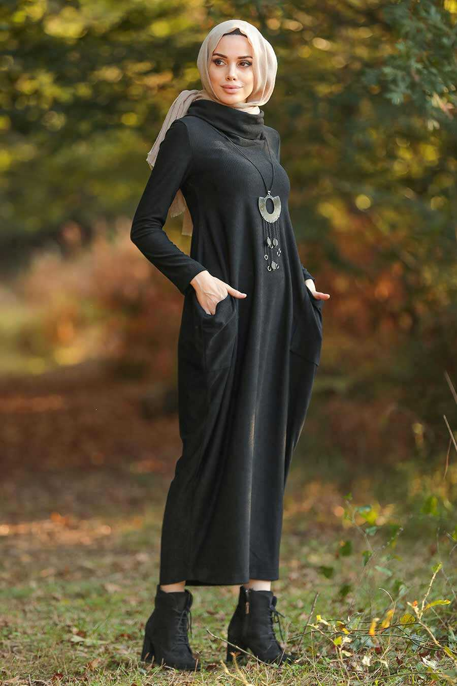 Black Hijab Dress 3351S