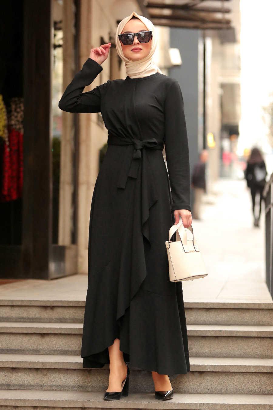 Neva Style - Black Hijab Dress 4041S