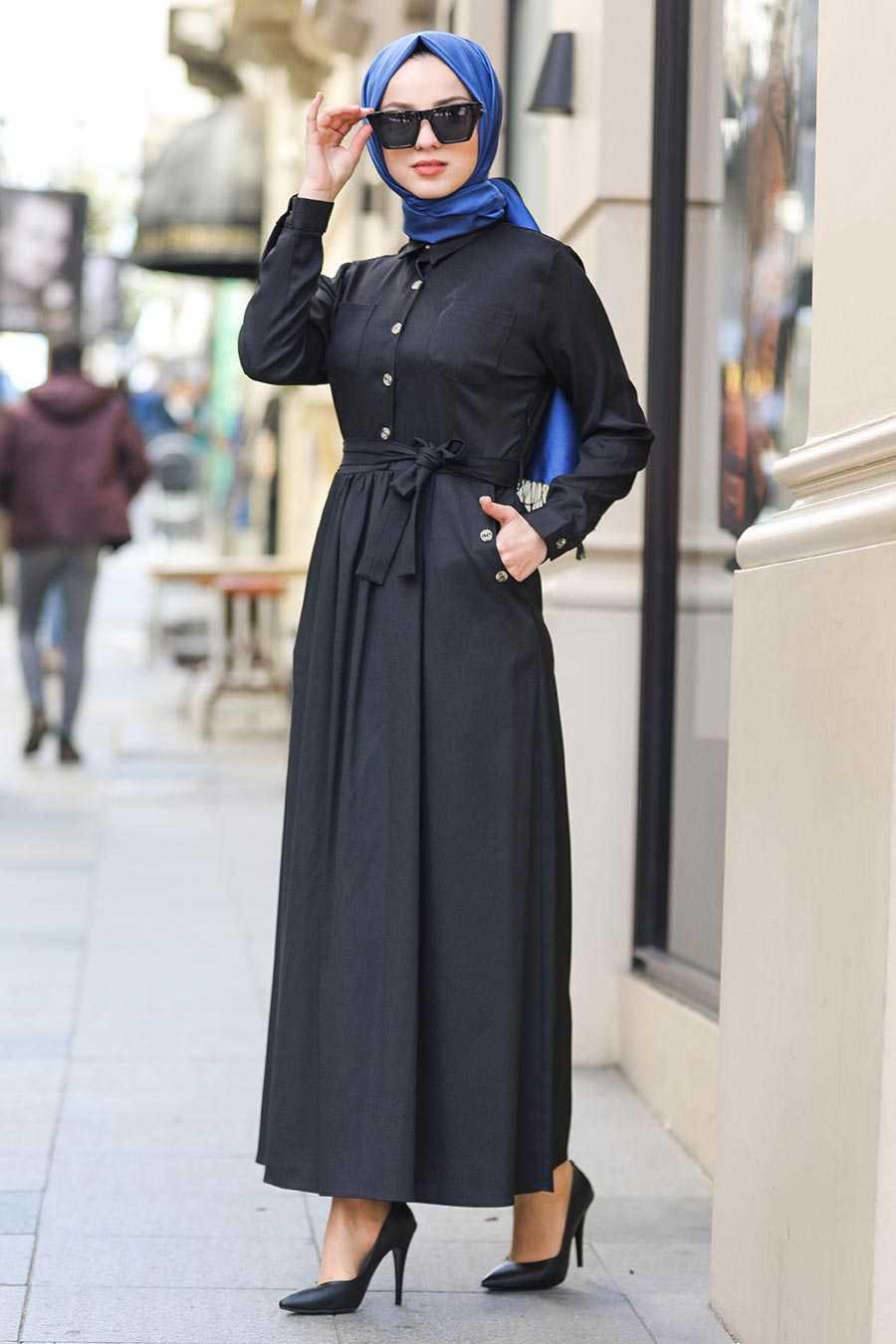Black Hijab Dress 462S