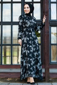 Black Hijab Dress 81390S - Thumbnail