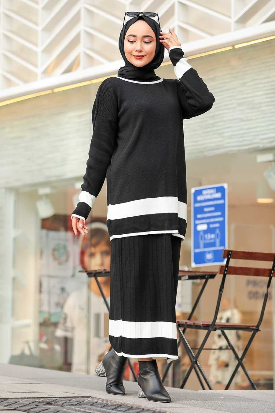 Black Hijab Dual Suit Dress 9681S