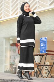 Black Hijab Dual Suit Dress 9681S - Thumbnail
