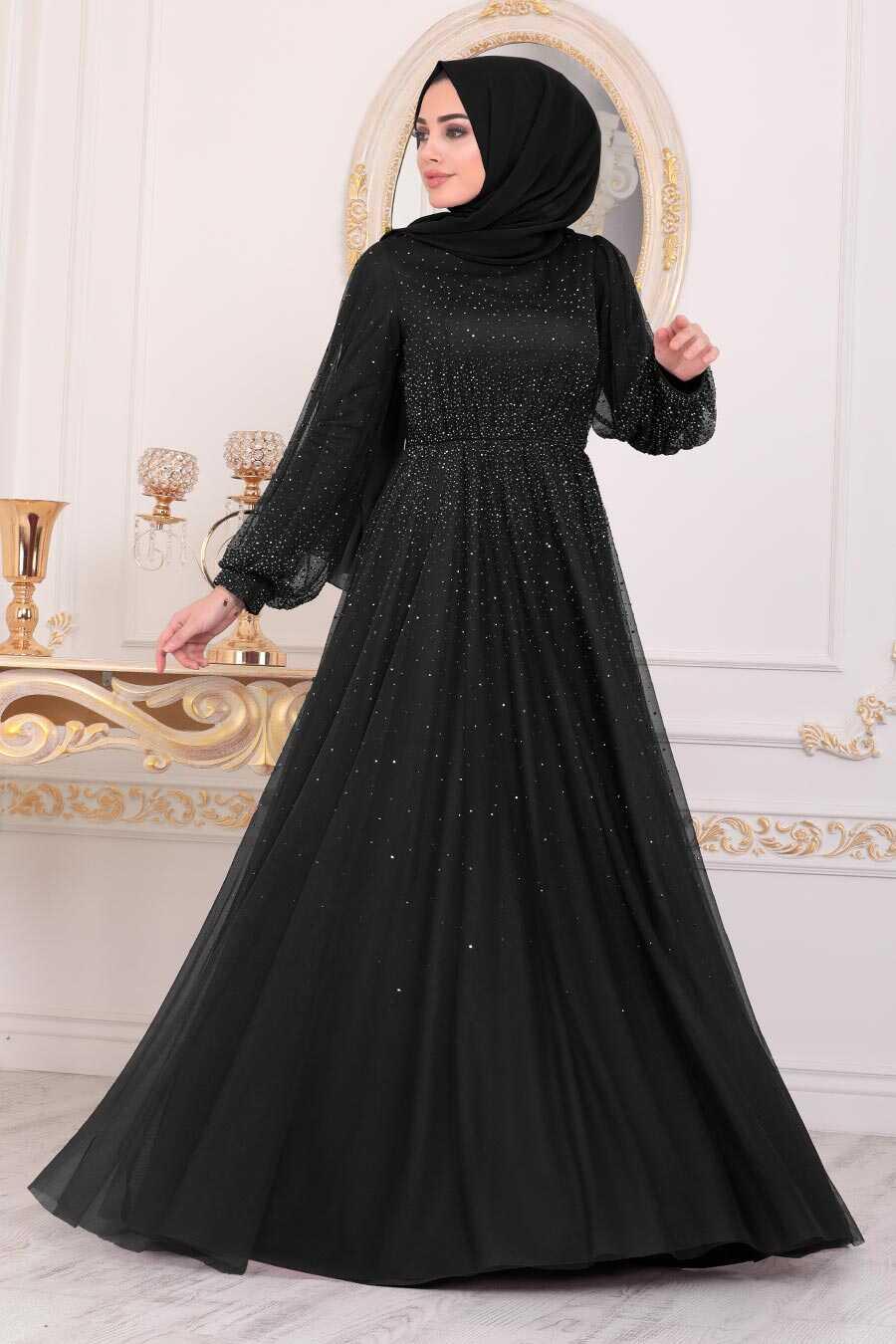 Black Hijab Evening Dress 21501S