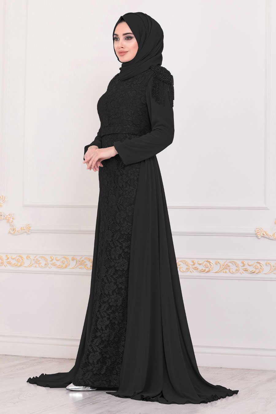 Black Hijab Evening Dress 40280S
