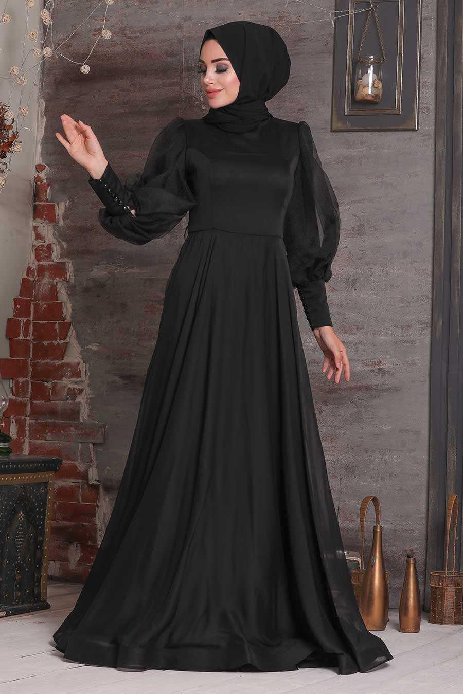 Black Hijab Evening Dress 4034S