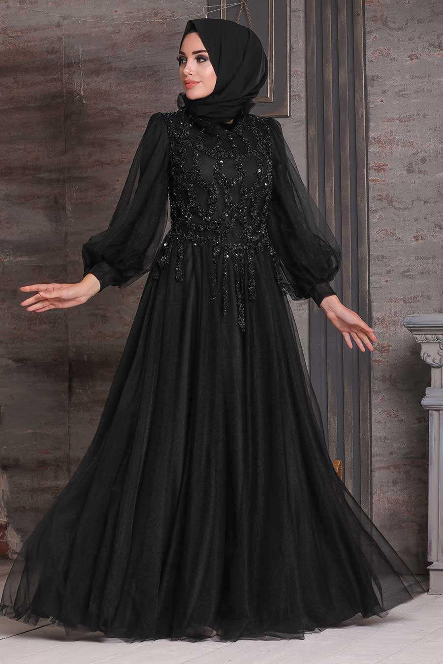 Black Hijab Evening Dress 4093S