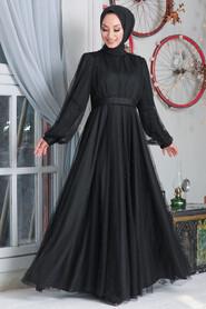 Black Hijab Evening Dress 50080S - Thumbnail