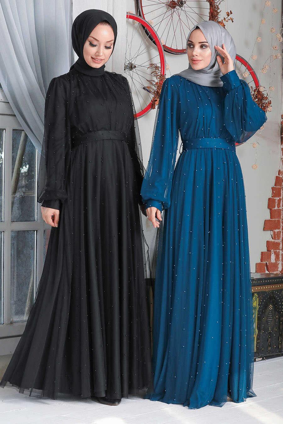Black Hijab Evening Dress 50080S