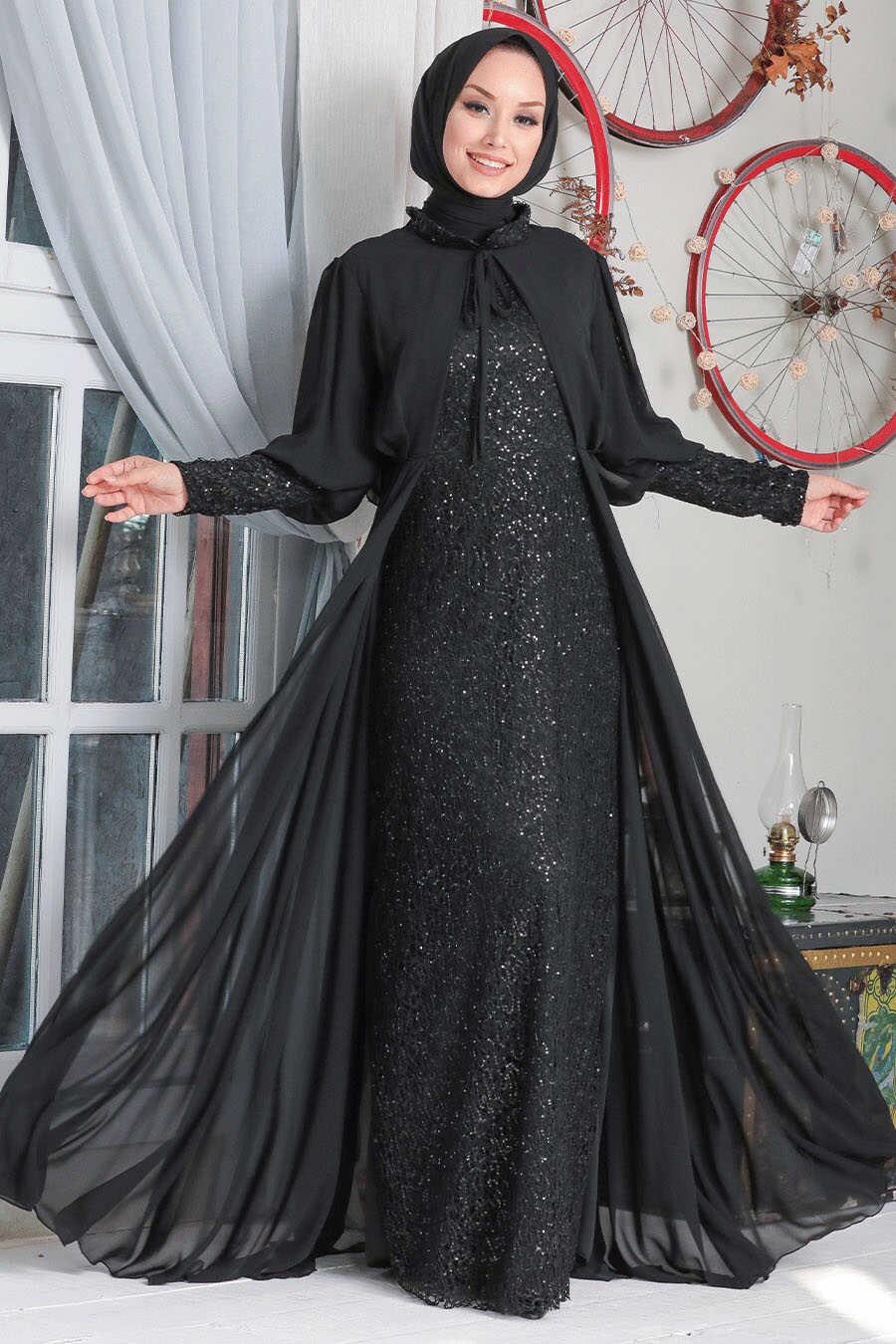 Black Hijab Evening Dress 50090S
