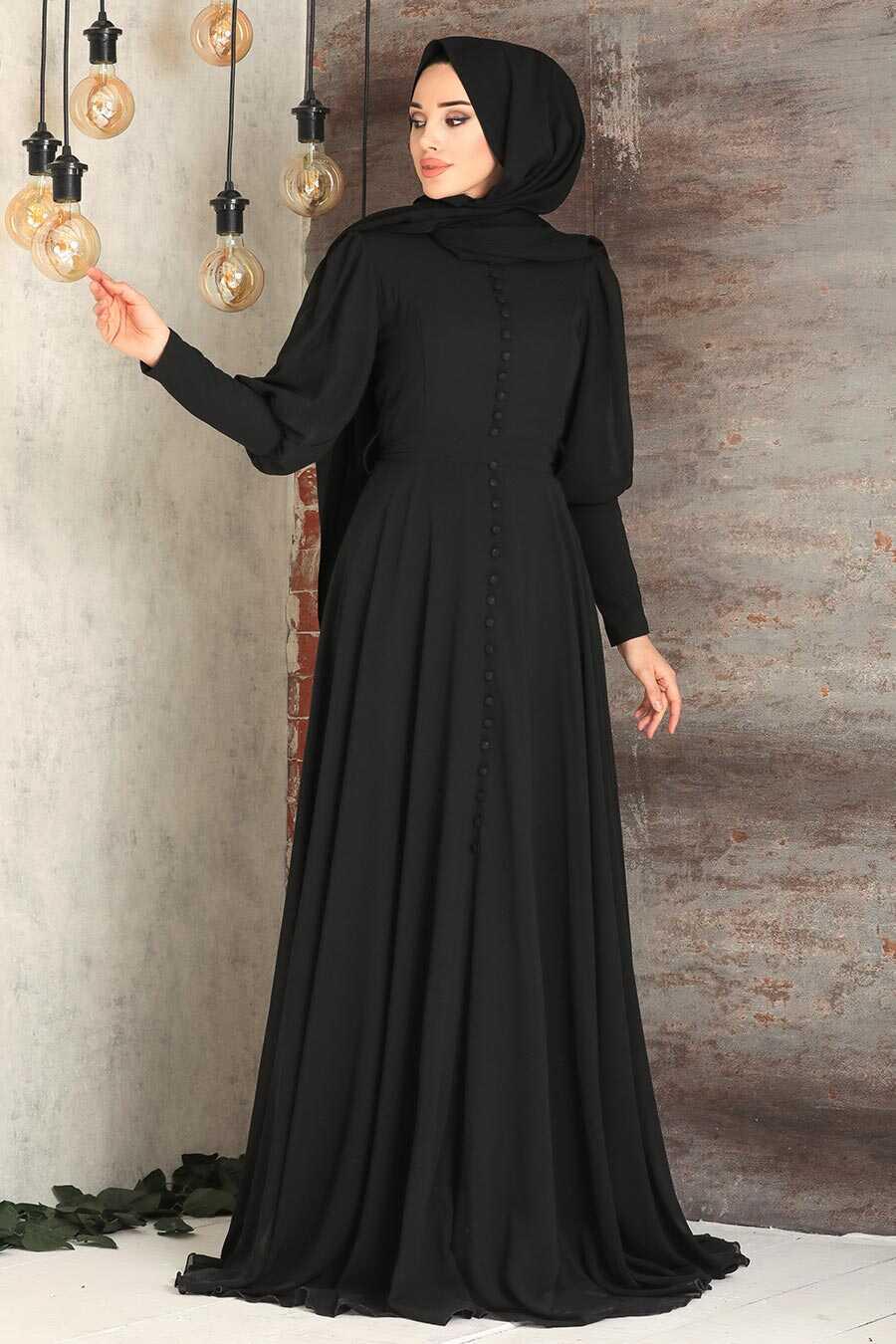 Black Hijab Evening Dress 54551S