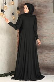 Black Hijab Evening Dress 54551S - Thumbnail