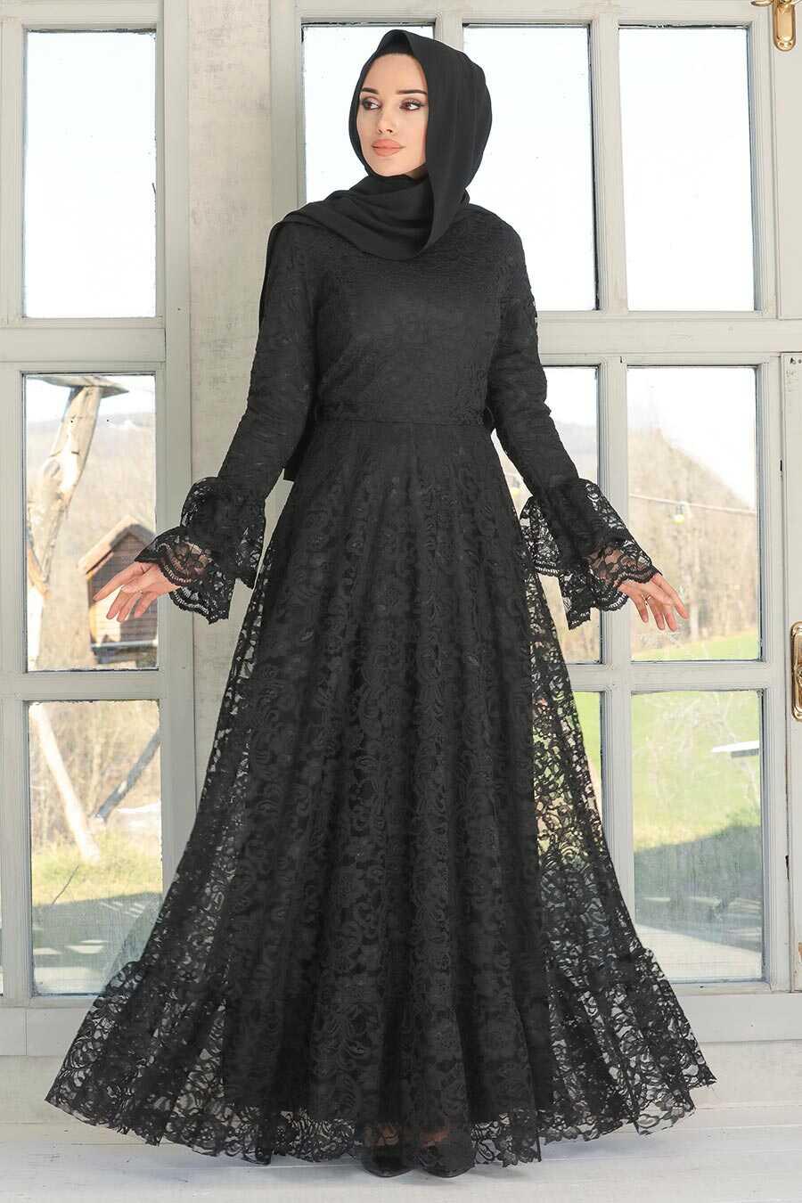 Black Hijab Evening Dress 5476S