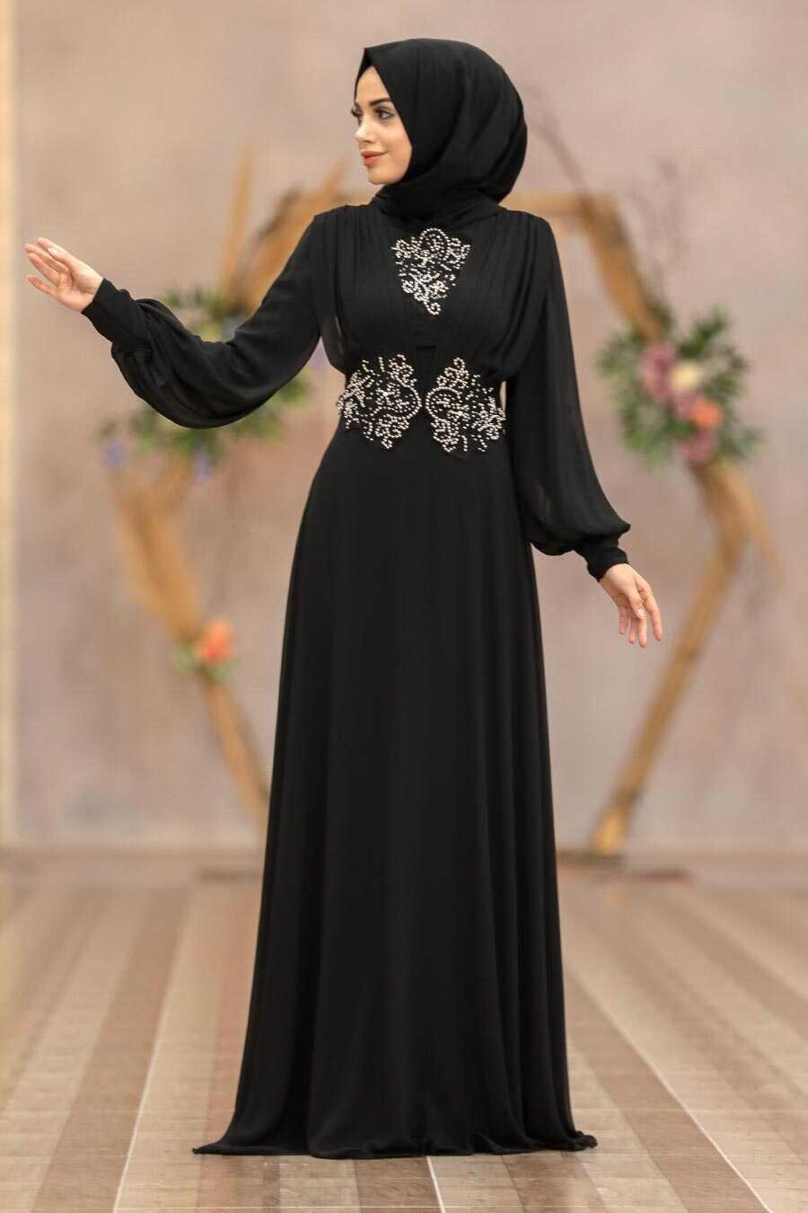 Black Hijab Evening Dress 9118S