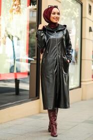Black Hijab Leather Coat 6764S - Thumbnail