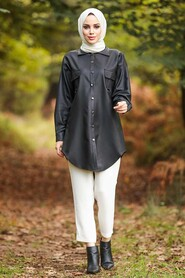 Black Hijab Tunic 5583S - Thumbnail
