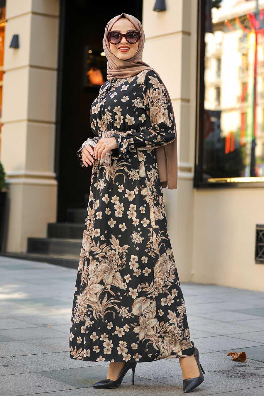 Black Hijab Dress 1717S