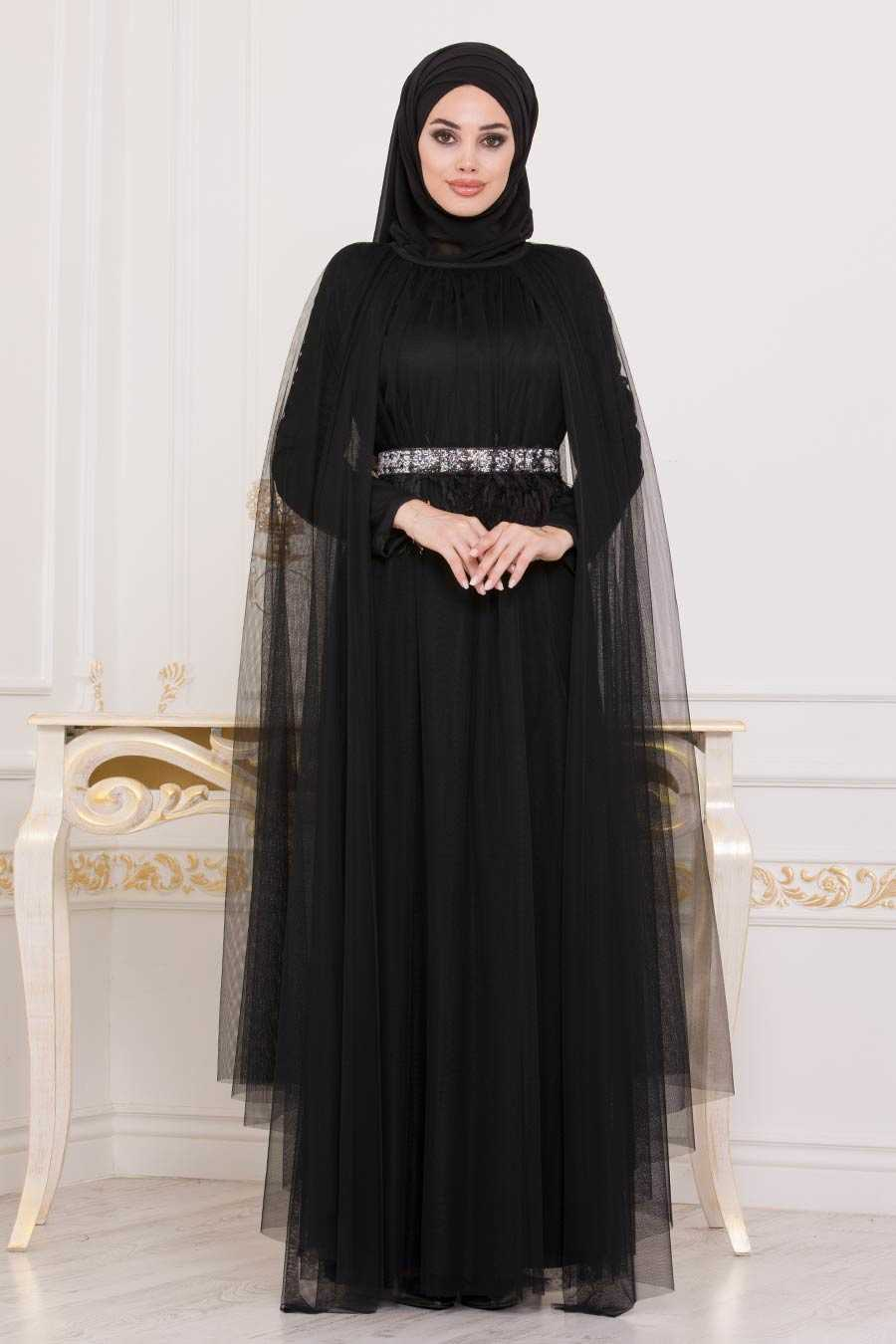 Black Hijab Evening Dress 3906S