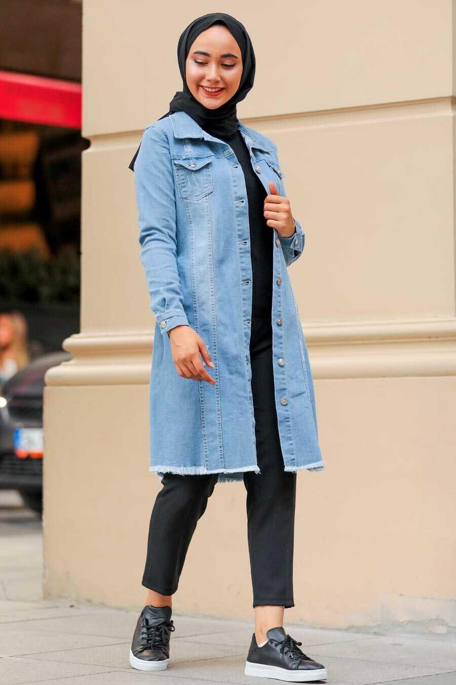 Blue Hijab Denim Jacket 10646M